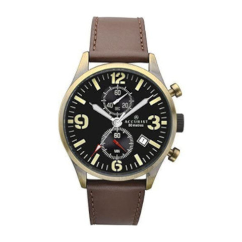 Accurist - Men's Brown Leather Strap Chronograph Watch With Date Display 7023