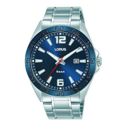 Lorus - Unisex Silver and Blue Lorus Analog Quartz Watch With Metal Strap (rh913nx9)